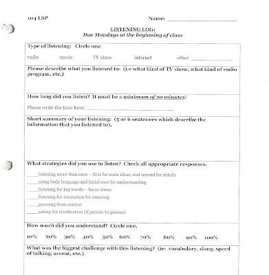homework log template