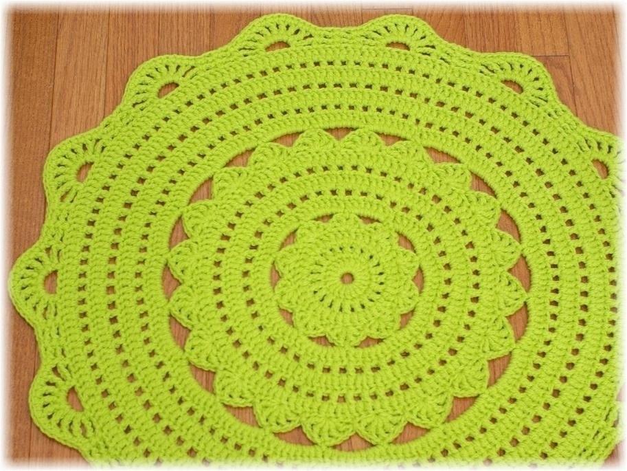 Handy Crafter Custom Handmade Crochet Doily Rug In Grass Green