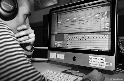 Ben Heine recording a track in Ableton Live - Lion Walk Animation - Music in Progress © 2013 Ben Heine