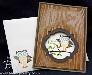 Cute Owl  Best Wishes Card by Bekka using Stampin' Up!'s Owl Occasions Stamps - this was a project at a recent card making class - check them out at www.feeling-crafty.co.uk