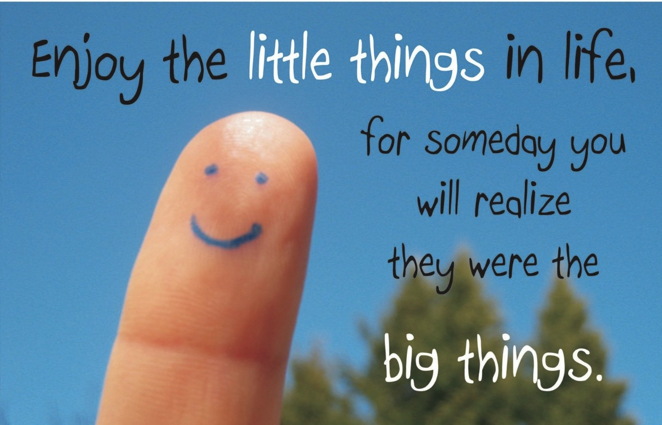 little things that make you happy What are some simple things that make you really happy like opening the peanut butter jar and having the first spoonful, relaxing and watching an episode of friends, the smell of barnes and noble what are the little things that make you smile.