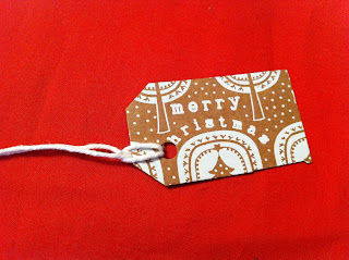 brown and white christmas gift tag made from recycled christmas card