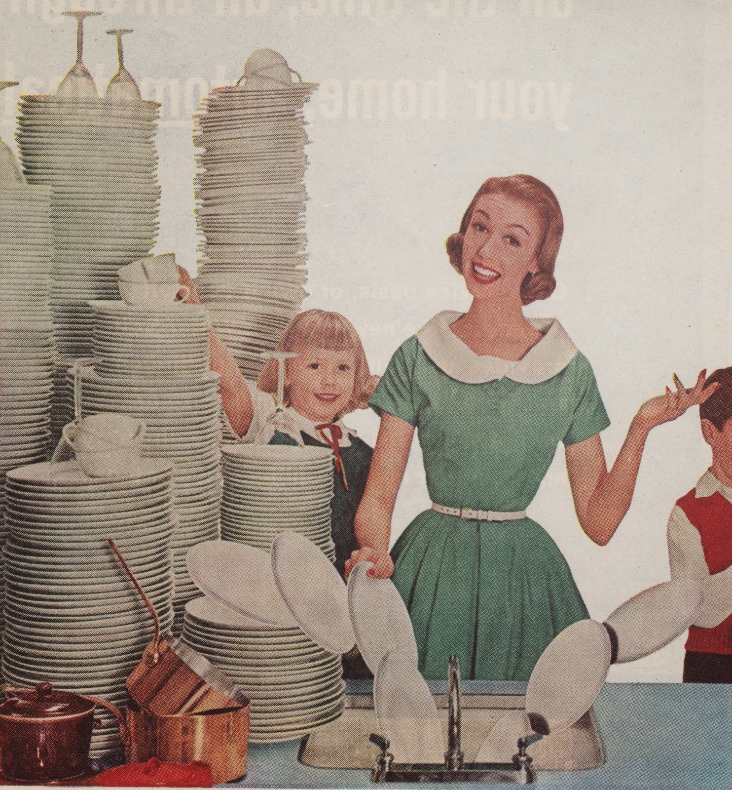 happy mom washing dishes with her children 1950s