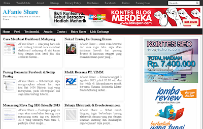 Membuat tampilan 2 kolom di homepage