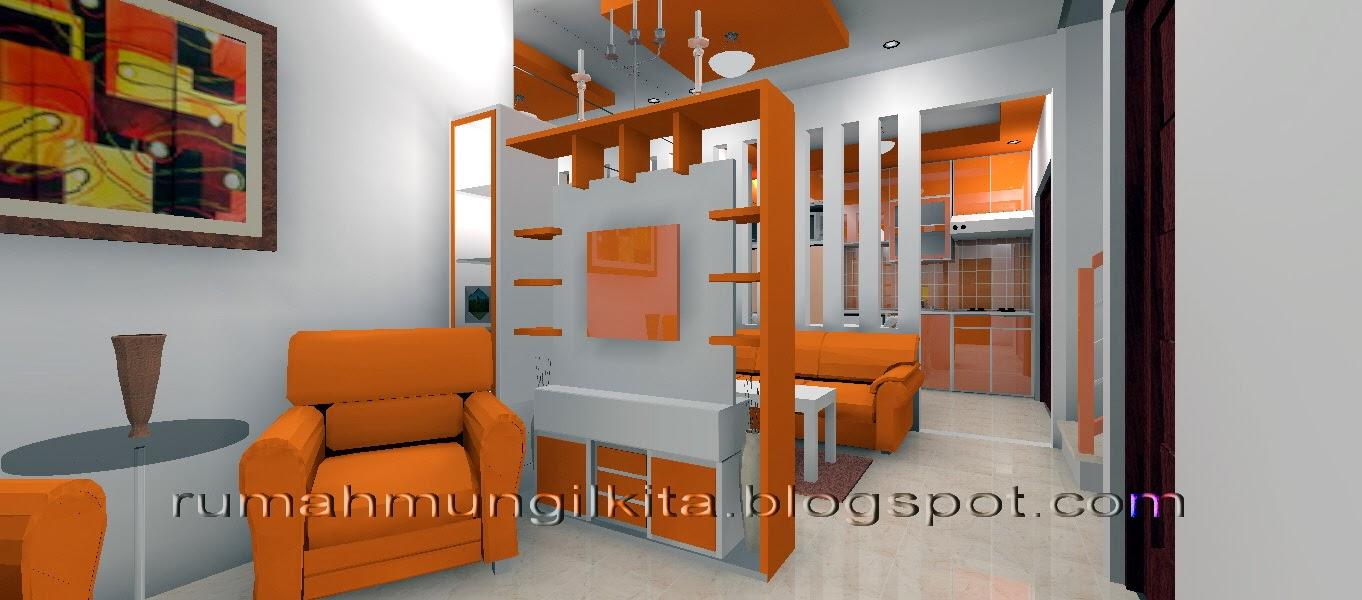 partisi dua sisi dengan rak tv warna oranye putih