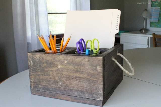 LoveGrowsWild.com | DIY Wood Crate Homework Station