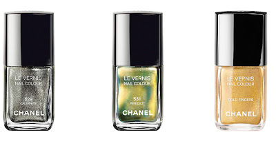 Chanel, Chanel nail polish, Chanel Le Vernis Nail Colour, Chanel Graphite, Chanel Peridot, Chanel Gold Fingers, nail, nails, nail polish, polish, lacquer, nail lacquer
