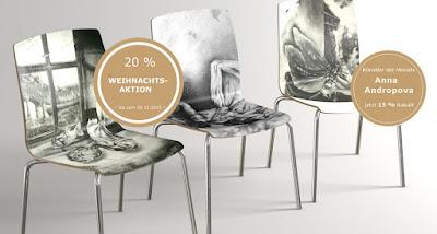 Annas Kollektion bei Arssedia - Design Holzstühle mit Motiven von Annas Schablithografien Bestellung über Arssedia sowie direkt über Annas Website möglich