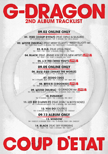 g-dragon coup d'etat album tracklist image