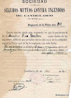 Contrato de la Sociedad de Incendios de Candelario Salamanca