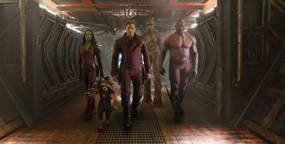 Zoe Saldana, Bradley Cooper, Chris Pratt, Vin Diesel, and Dave Bautista in Guardians of the Galaxy