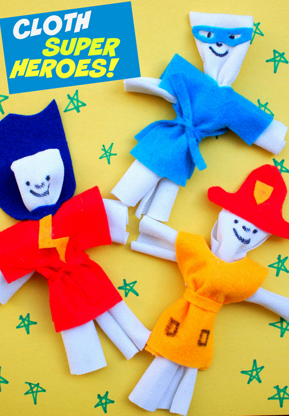 Easy DIY Kids Toy- Make some super hero cloth dolls... out of t-shirts! No sewing required!