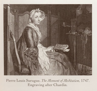 Pierre Louis Surugue, _The Moment of Meditation, 1747, Engraving after Chardin