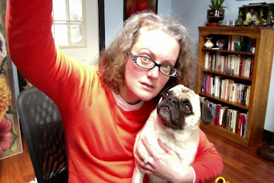 Here I am in my office with my pug
