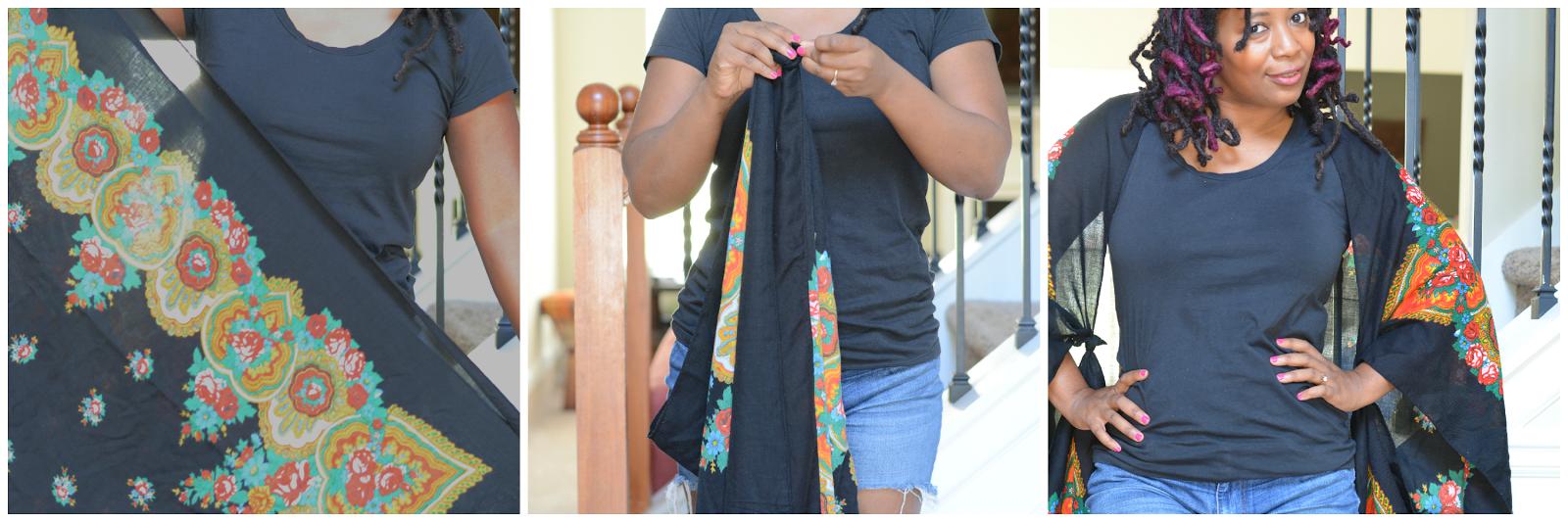 scarf worn kimono style