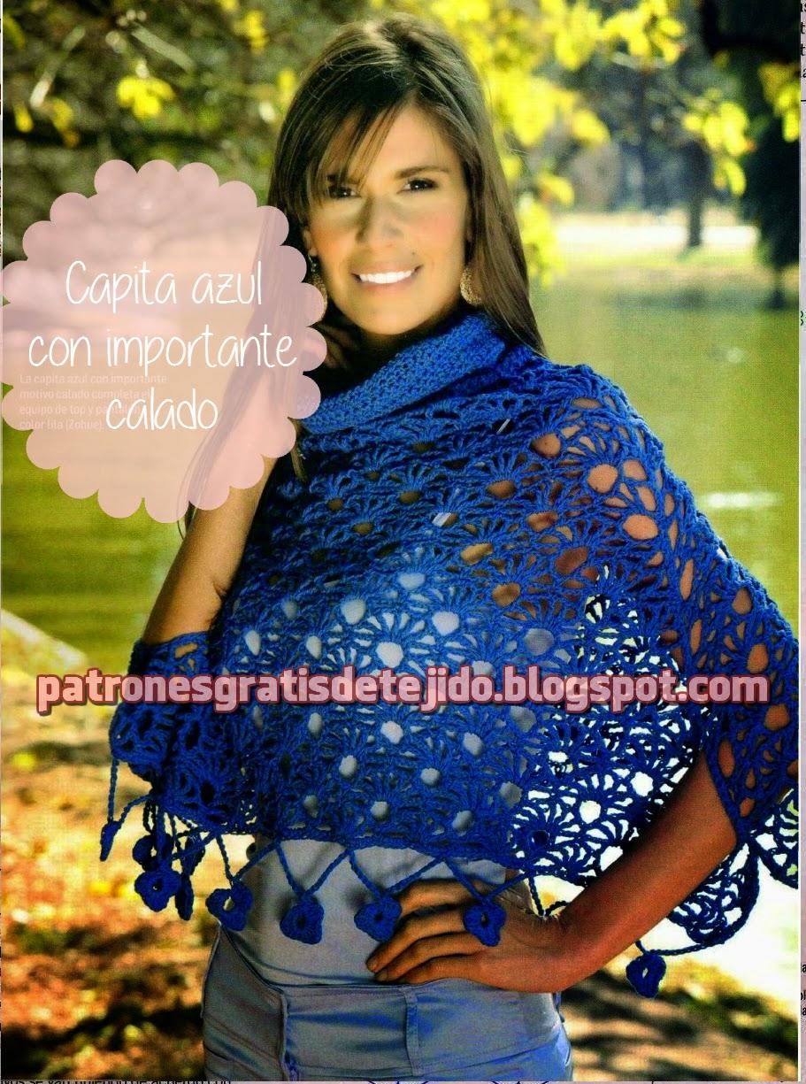Capita azul con importante calado al crochet - con explicación en Español