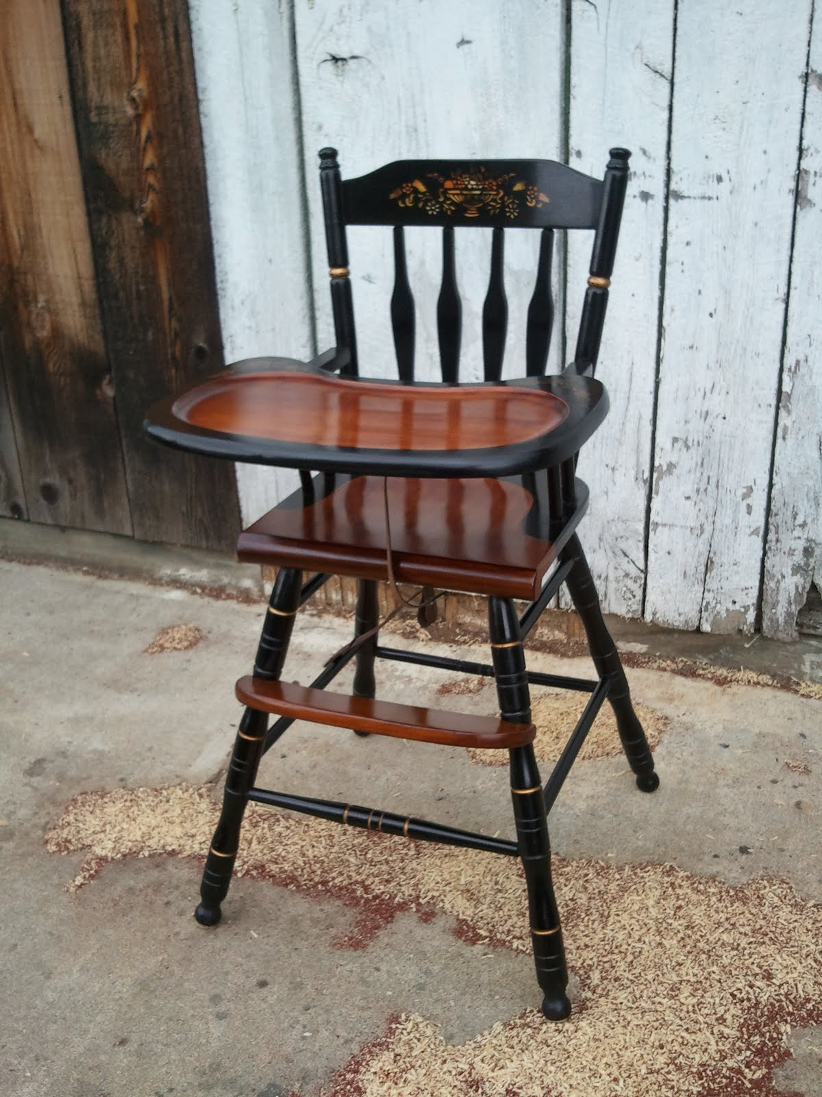 John Mark Power Antiques Conservator Hitchcock Style High Chair