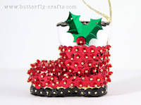 Red and Black Boot Handmade Christmas Decoration