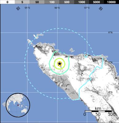 Epicentro sismo 5,9 grados, Sumatra, Indonesia, 21 de Enero 2013