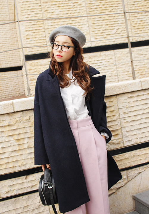Snap Closed Notched Collar Coat