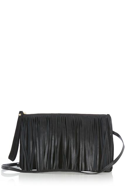 warehouse tassel clutch, black tassel clutch, black leather tassel clutch,