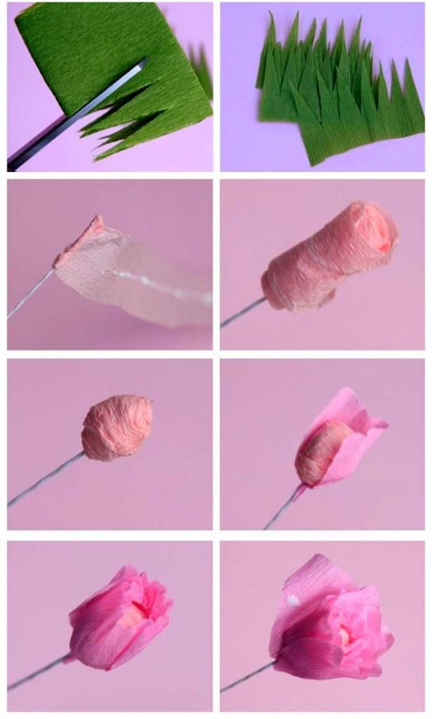 Criativa Como fazer rosa com papel crepom # Decoração De Papel Crepom Como Fazer