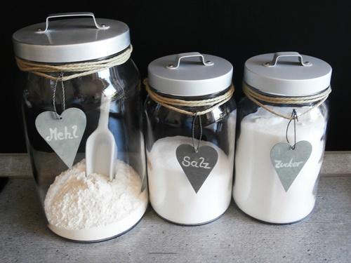 Mehl Salz Zucker Behälter Blechherzen