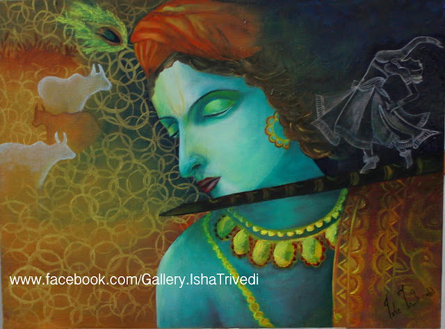 "Krishna 1 Painted by Isha Trivedi ""Isha Trivedi"""