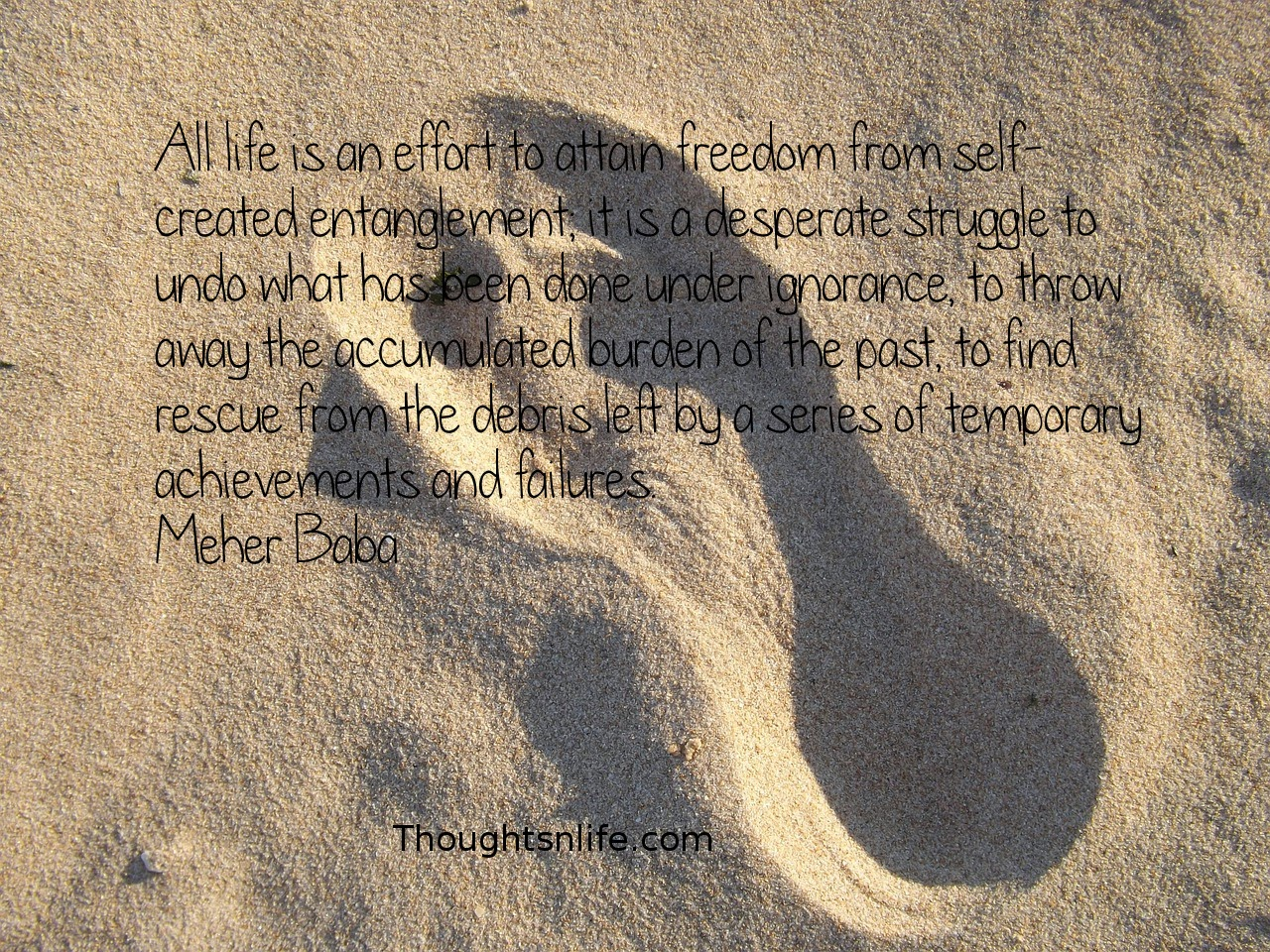 Thoughtsnlife.com: All life is an effort to attain freedom from self-created entanglement; it is a desperate struggle to undo what has been done under ignorance, to throw away the accumulated burden of the past, to find rescue from the debris left by a series of temporary achievements and failures. Meher Baba