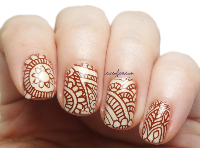 xoxoJen's swatch of Grace-full Butter-ful stamped with henna