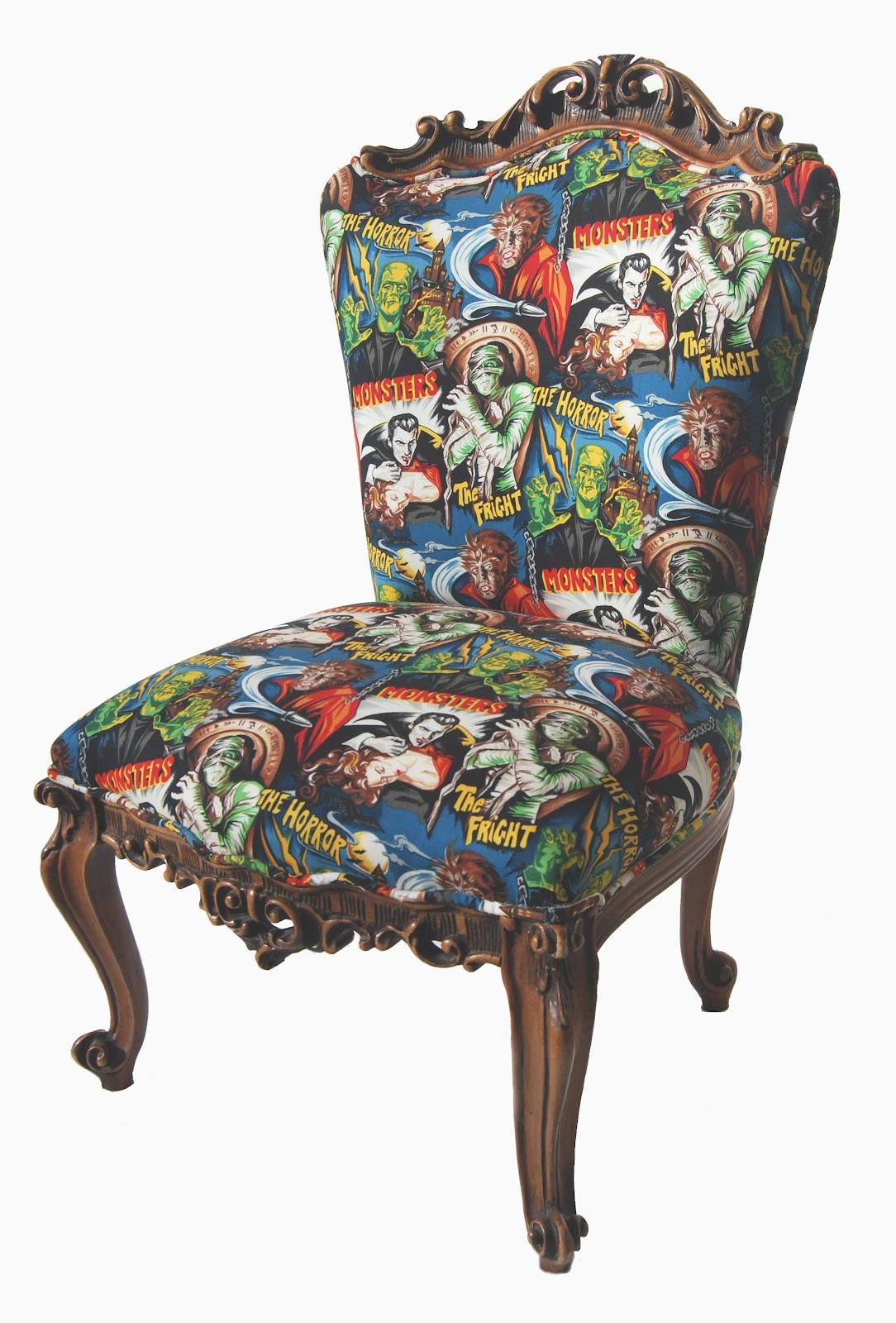 La tapicera descalzadora tapizada con tela monsters for Telas para sillas