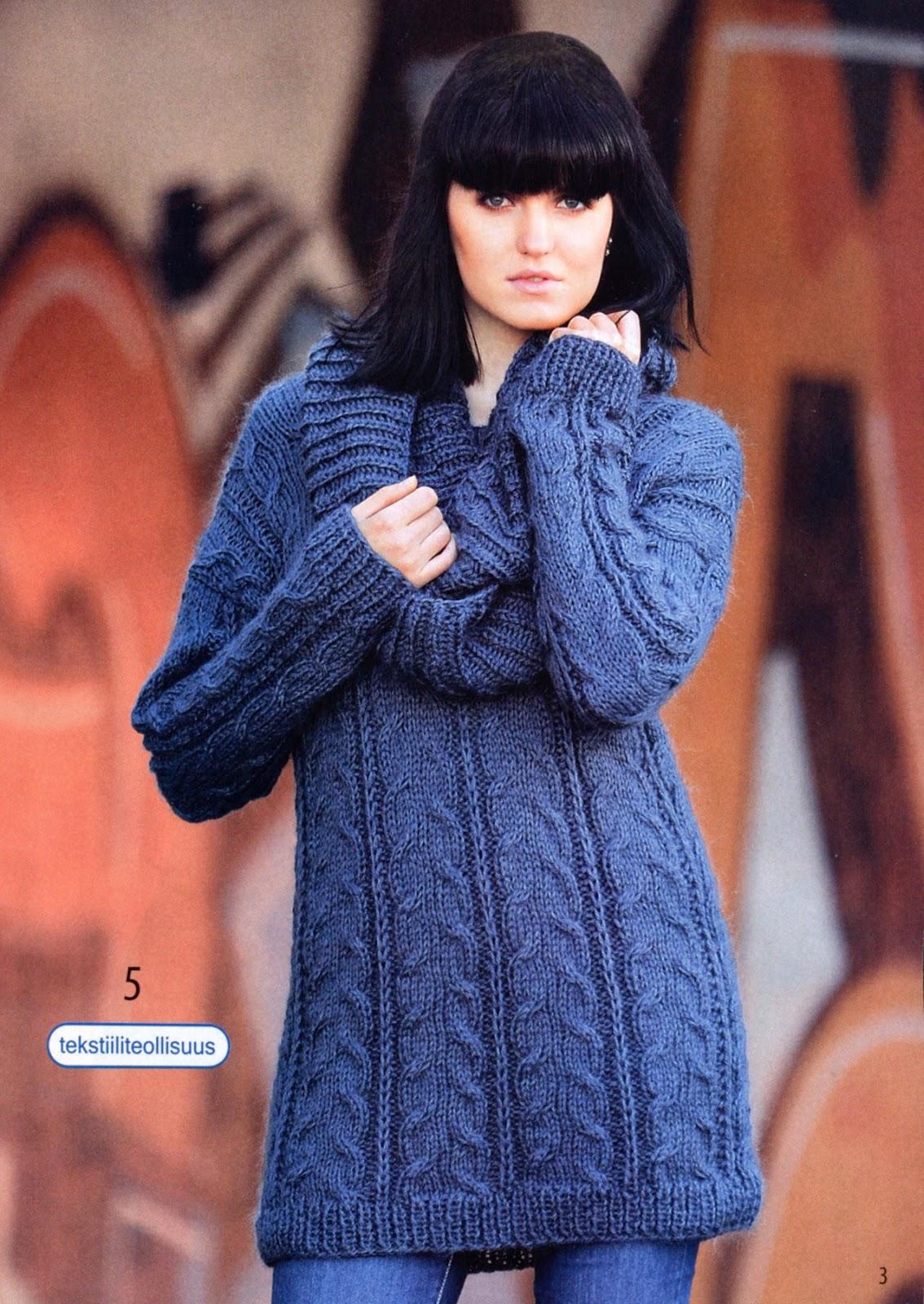 Удлиненный пуловер или мини-платье спицами