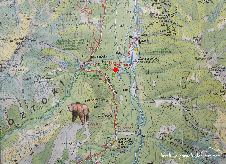 Schronisko Roztoka - mapa