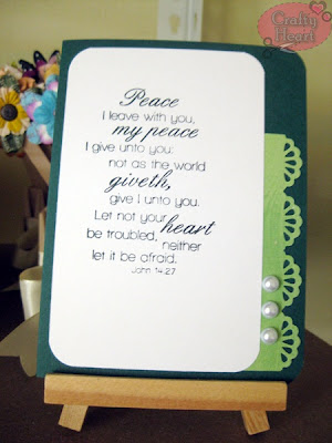 Handmade Christian Card - Peace in Green