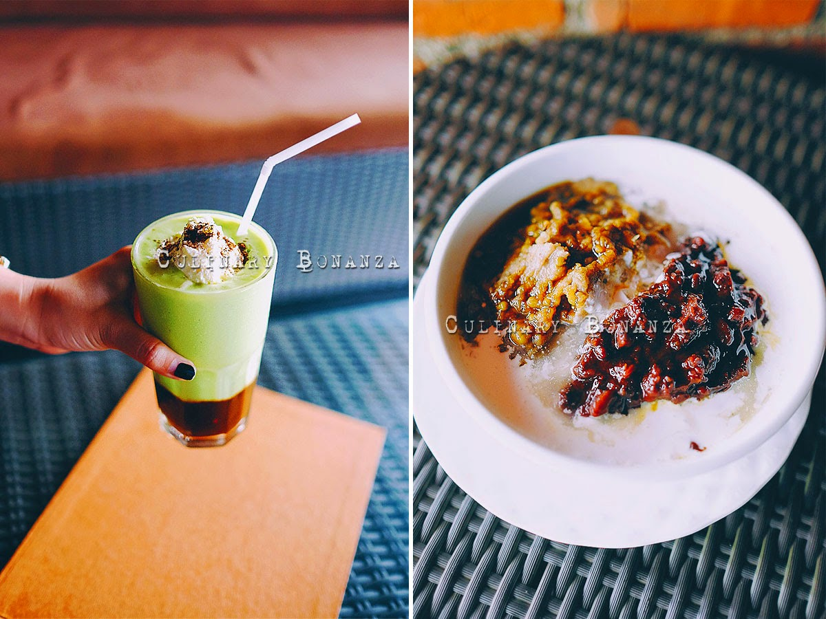 Left: Avocado Coffee IDR 38,000 Right: Es Kacang Merah IDR 18,000