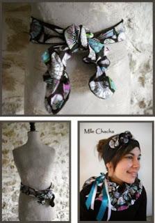Bandeau, turban, ceinture, accessoire de mode, créateur,Mlle chacha, bandeau, col écharpe, turban, français, fait main,
