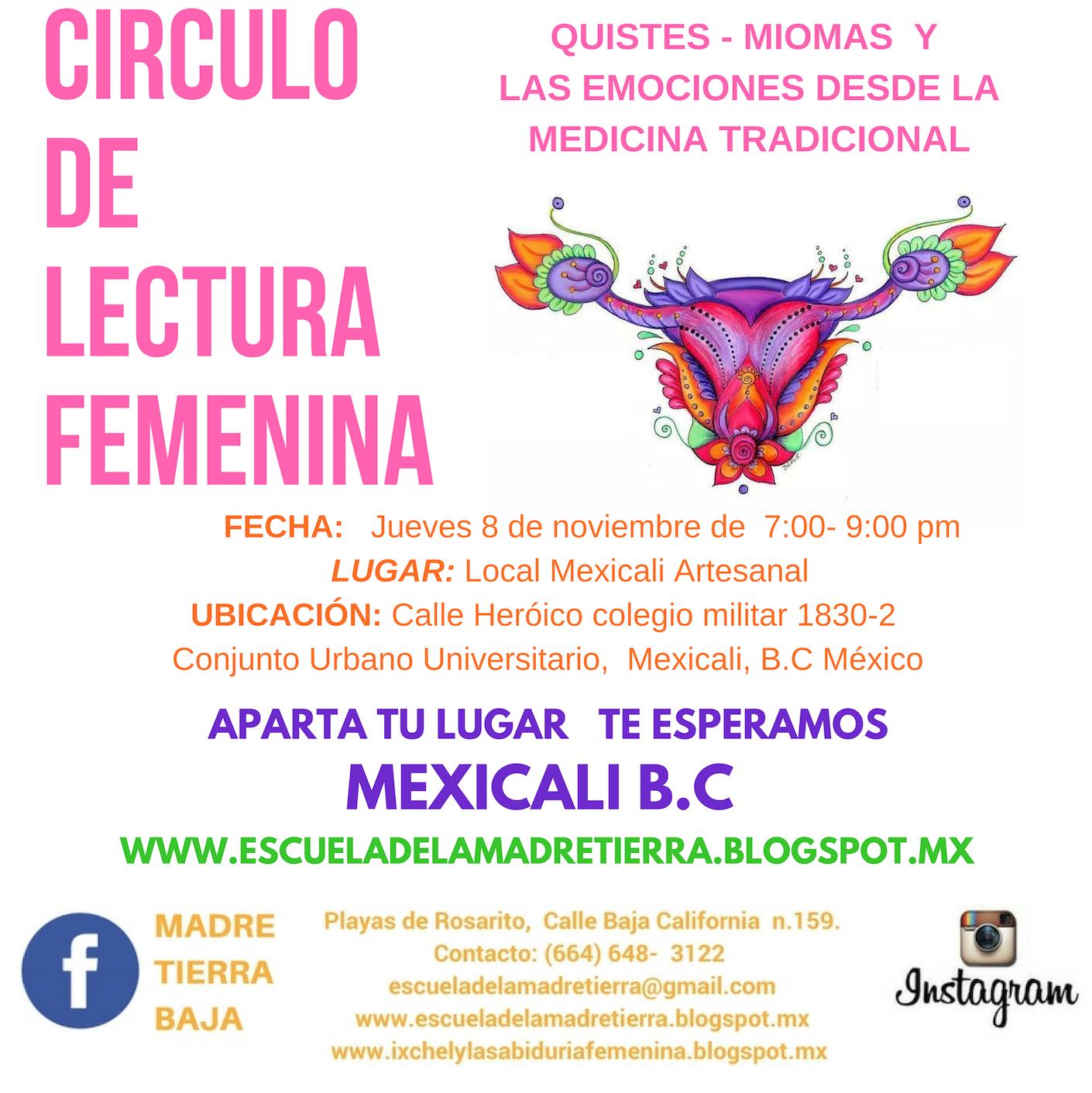 CIRUCLOS DE LECTURA SOBRE SALUD FEMENIN 2018