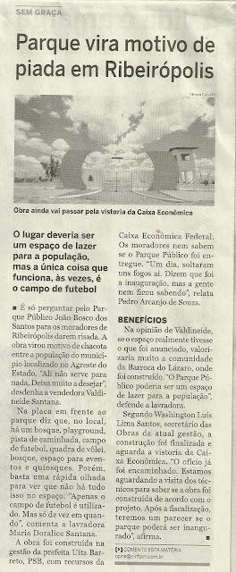 Parque vira motivo de piada em Ribeirópolis ... Cinform destaca descaso.