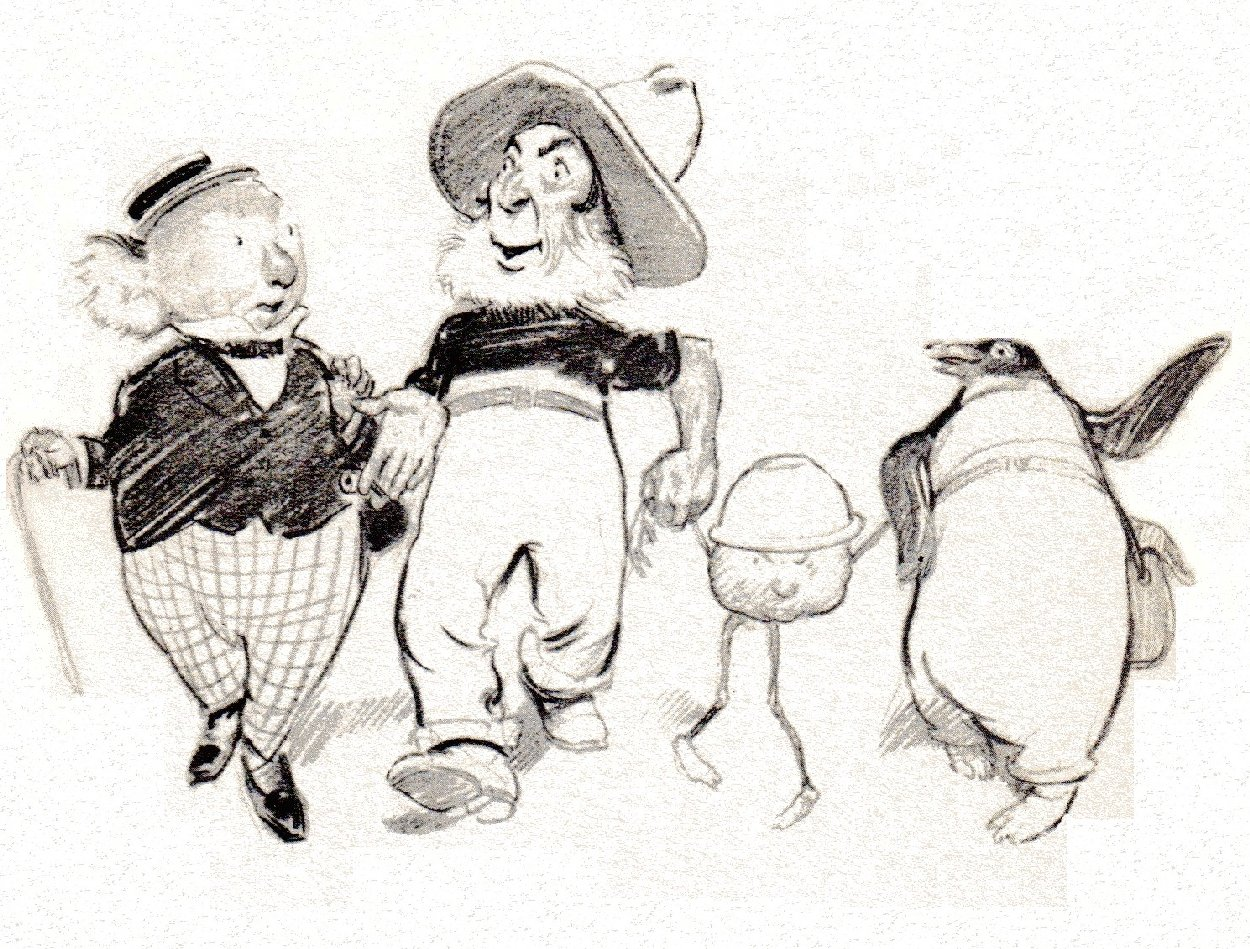 sketch of skipping animals : koala and pengin with man and pudding