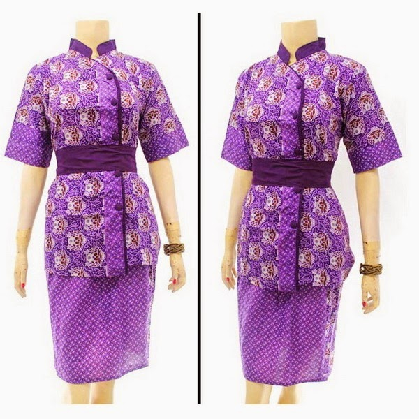 DB3817 Model Baju Dress Batik Modern Terbaru 2014