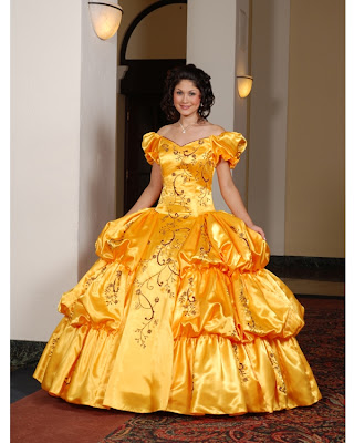 a-line yellow color ball gown Quinceanera Dress