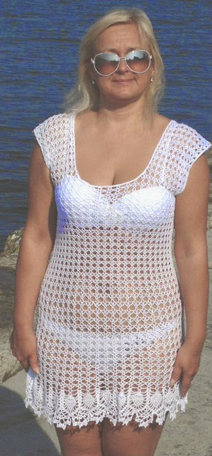 Lenceria De Baño Tejida A Crochet:Salida de playa para usar sobre el ...