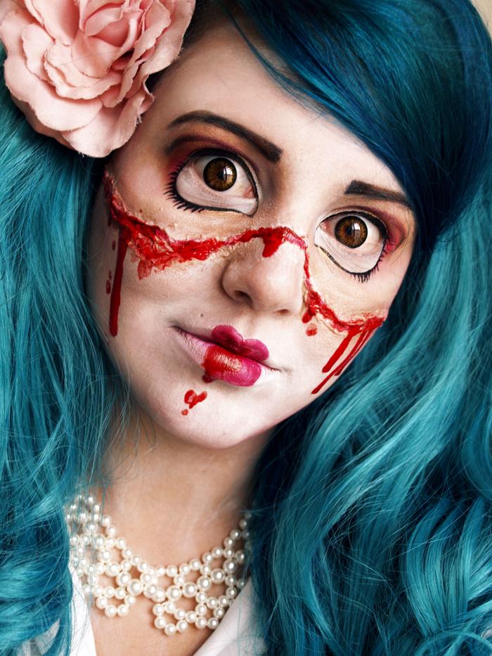 T te de thon halloween tuto la poup e cass e - Comment faire un maquillage de clown qui fait peur ...