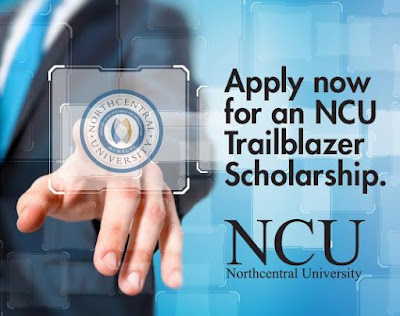 Image of someone clicking on a virtual link via NCU logo.  Text: Apply now for an NCU Trailblazer Scholarship.