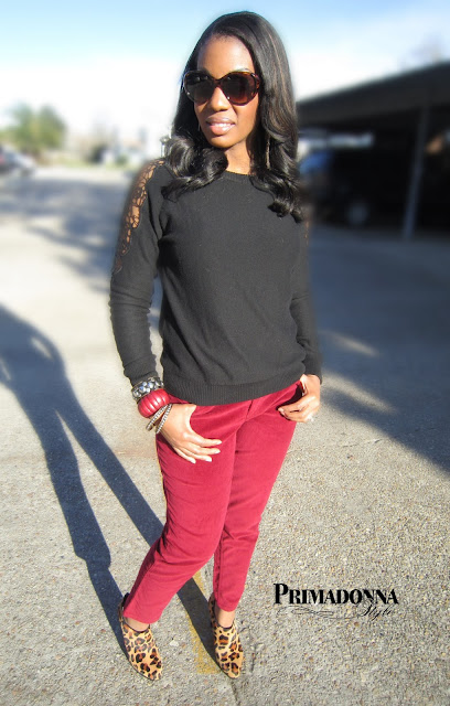 Forever 21 Crochet Cutout Sleeve Sweater Sonoma life + style Modern Fit Skinny Corduroy Pants Audrey Brooke Honor Leopard Bootie