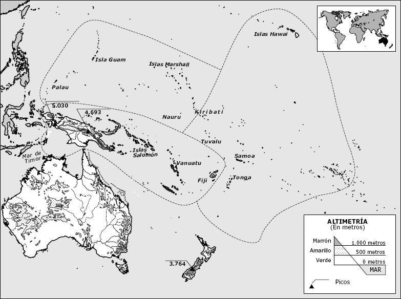 Mapa De Oceania Mudo Para Imprimir