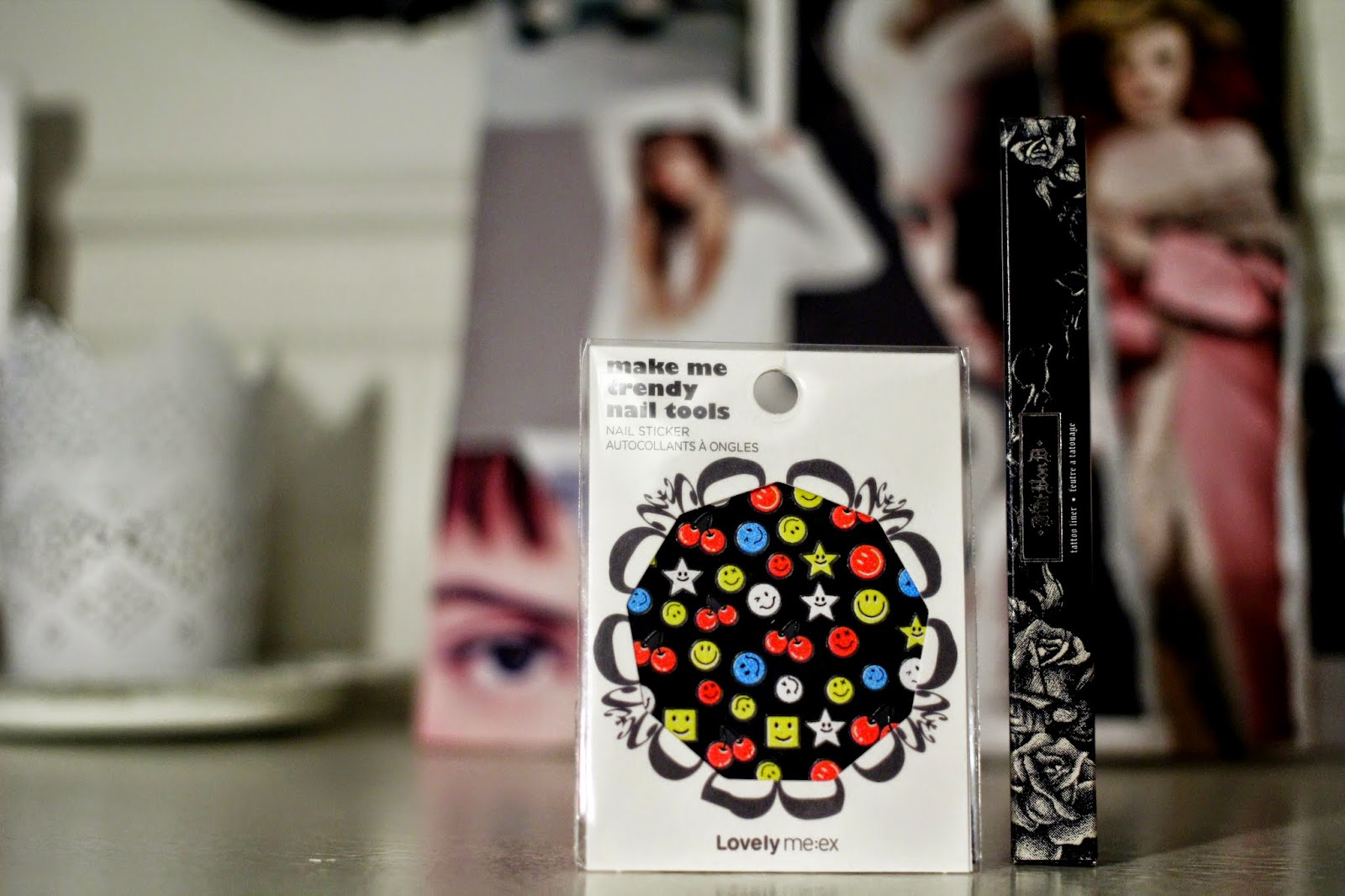 nail art stickers, Face shop make me trendy, Kat Von D tattoo eyeliner