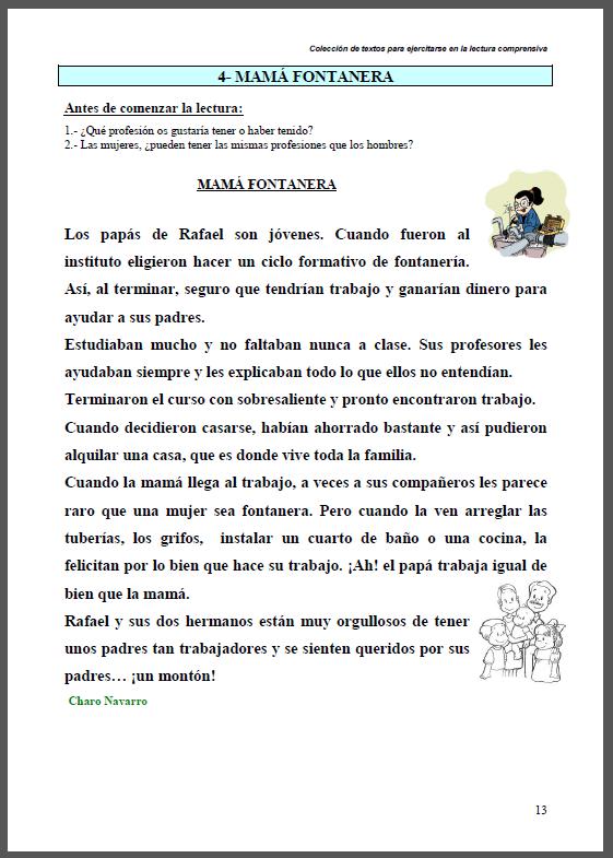 La imagen muestra la página impresa de la lectura comprensiva