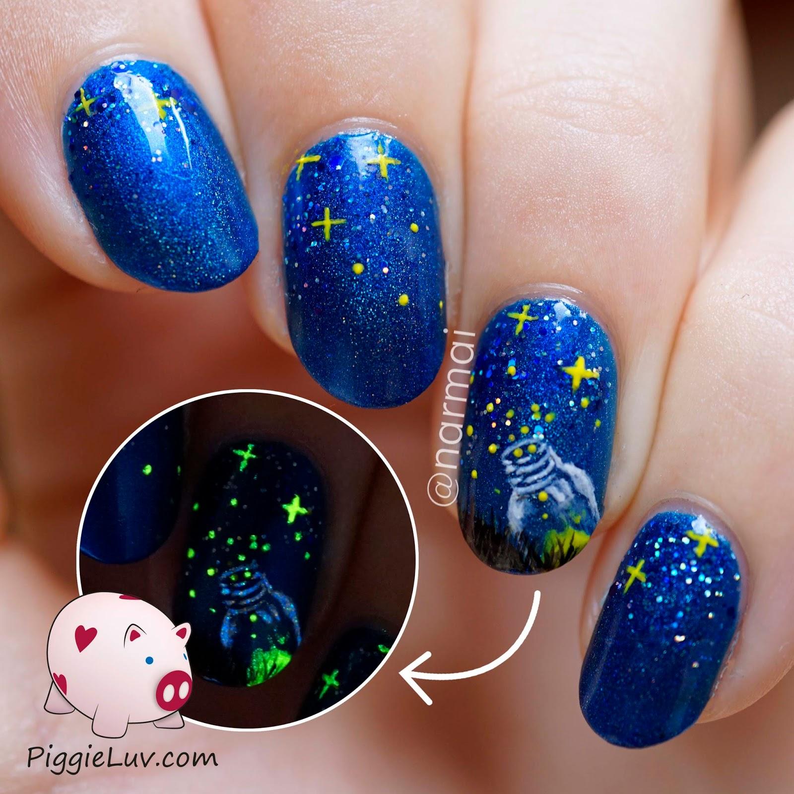 PiggieLuv: Fireflies become stars nail art