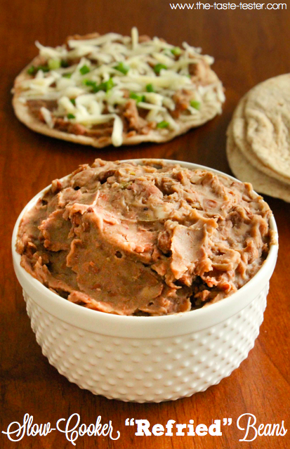 Slow-Cooker Refried Beans www.the-taste-tester.com #sidedish #easy #recipe